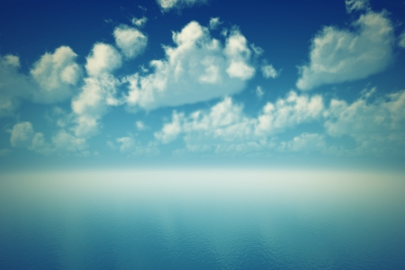 tranquil blue ocean ripple with cloudscape reflections Stock Photo - 17992468