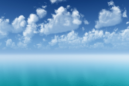 tranquil tropic sea ripple with cloudscape reflections Stock Photo - 18029631