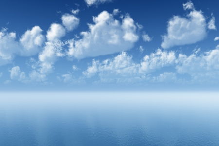 tranquil blue ocean ripple with cloudscape reflections Stock Photo - 18029632