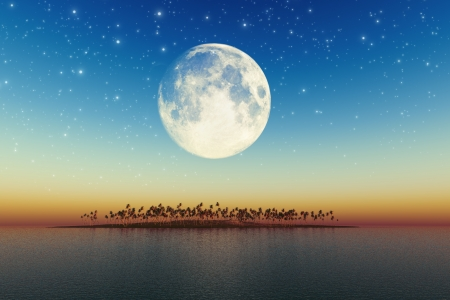 night sea landscape with beautiful coconut island  Stock Photo