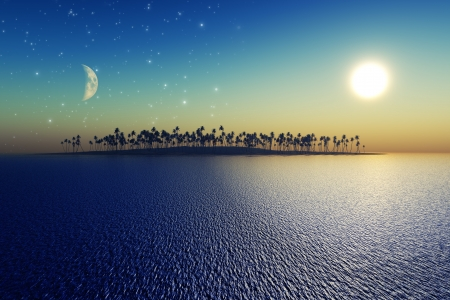 sun and moon behind island with coconut palms   photo