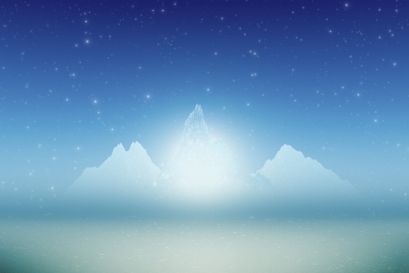 three ice mountains with inner glow and stars photo