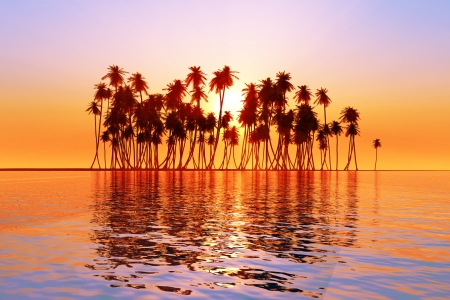 sun over coconut palms island on tranquil tropic sea photo