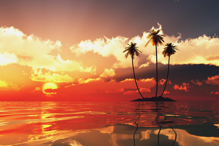 three palms on coconut island on gold sea at red sunset photo