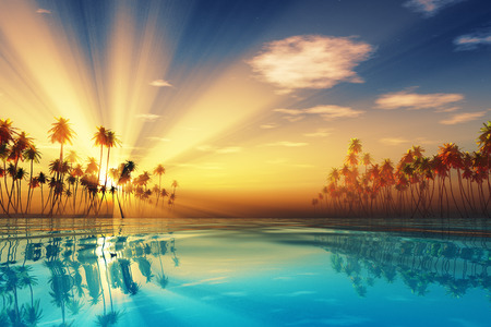 sun rays inside coconut palms island on tranquil tropic sea