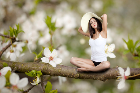 beautiful young woman sitting on blossom branch photo