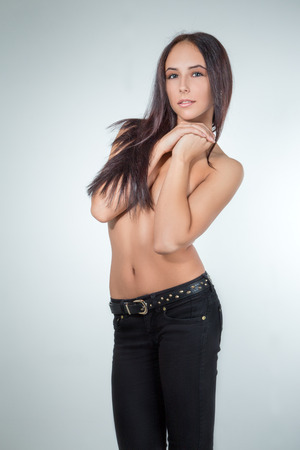 pretty girl with long hair smiling close her body photo