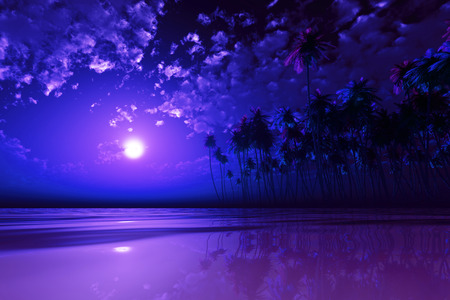moonlight: full purple moon over coconut island at tropic sea Stock Photo