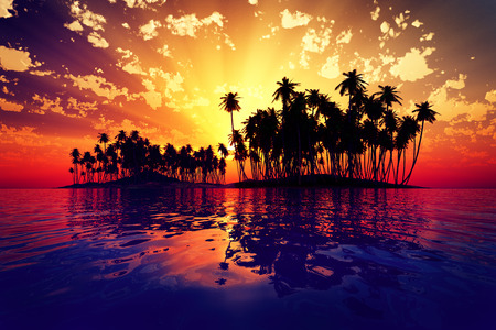 red sun rays inside coconut island on golden tropic sea photo
