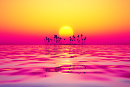 orange sky over coconut island at purple sunset photo