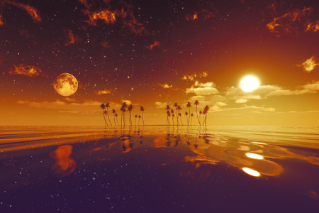sun and moon behind island with coconut palms red toned image photo