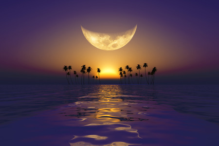 big yellow moon over purple sunset at tropical sea photo