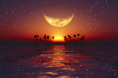 big yellow moon over red sunset at tropical sea with stars