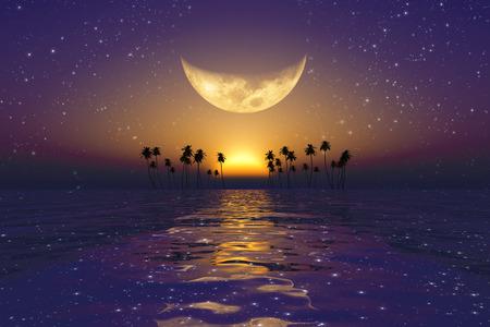 sol y luna: luna amarilla grande por encima de púrpura puesta de sol en el mar tropical con estrellas