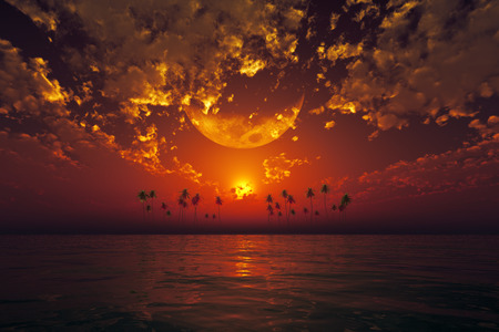 big moon in clouds over red sunset at tropical sea photo