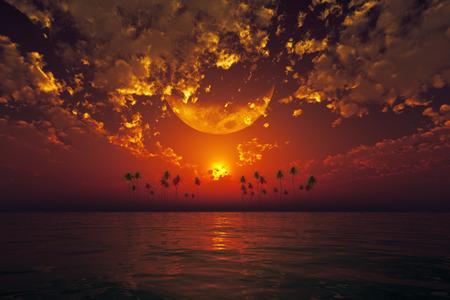 sol y luna: Luna grande en las nubes sobre el rojo atardecer en el mar tropical Foto de archivo