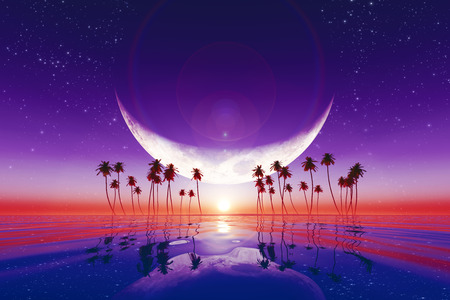 full moon romantic night: big moon over purple sunset at tropical sea with stars