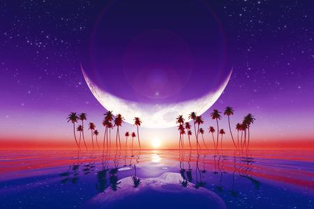 luna grande sobre puesta del sol púrpura en el mar tropical con estrellas