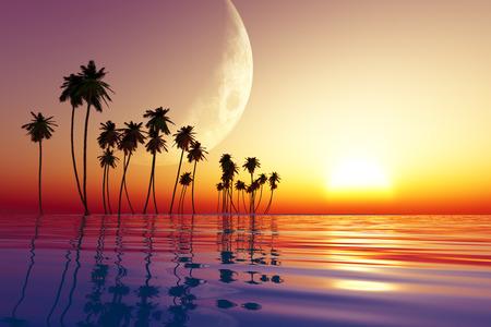 big moon over tropic island at sunset