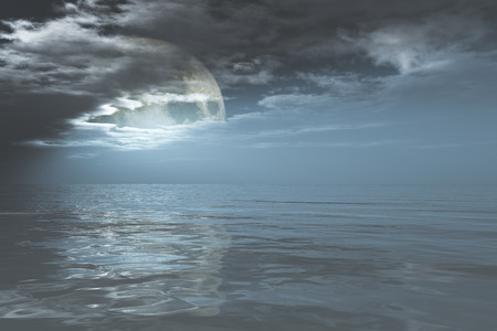 full moon in clouds over night sea photo