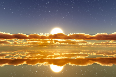 sun in clouds over mirror golden water with stars on sky photo