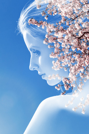 beautiful sensual woman with bare shoulder, double exposure effect