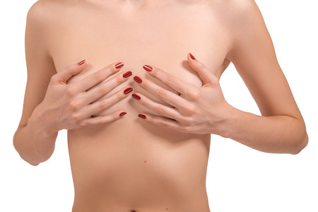 inrecognizable female body with small breasts isolated