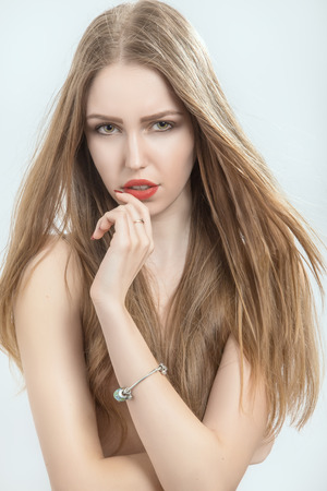 beautiful luxury woman with long hair photo