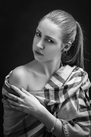 bared: sensual girl with bared shoulders monochrome