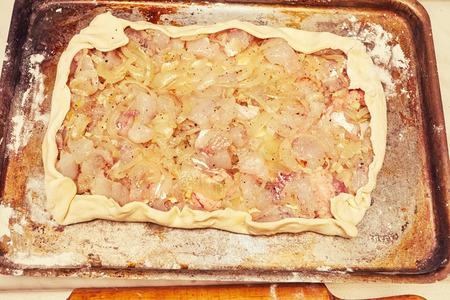 stuffing: fish stuffing on the crude dough