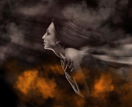 mujer con los ojos cerrados flyng en las nubes de la noche, imagen tonificada Foto de archivo