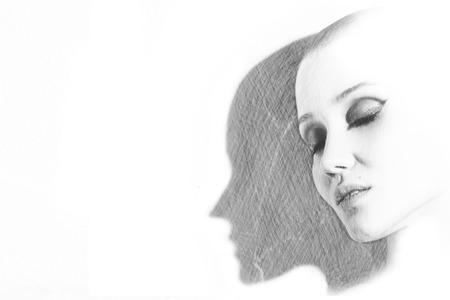 drawn portrait of beautiful sensual female head with shadow Stock Photo