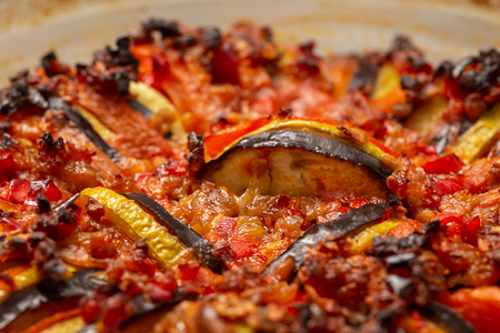 baked traditional homemade ratatouille closeup view