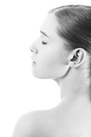 beautiful woman profile silhouette isolated on white background, closed eyes, monochrome
