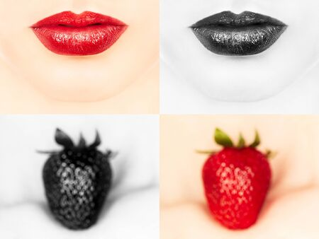 young sensual woman with juicy strawberry on her clavicles, closeup view, monochrome and color collage