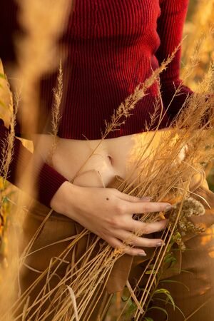 woman with slim body in dry grass front view closeup bare stomach Stock fotó
