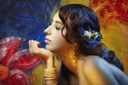 young woman with gypsy or mermaid makeup side view, closed eyes