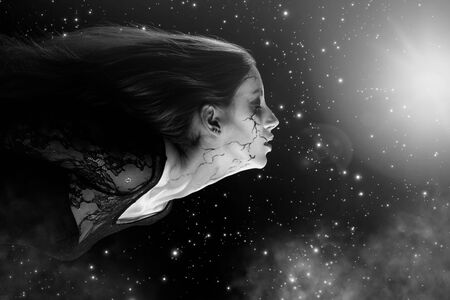 young woman with halloween makeup and closed eyes flying in night clouds, stars background