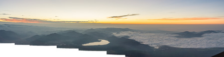 Sunrise view from summit of Mount Fuji with panorama.
