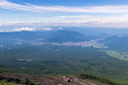 gravelly: Mount fuji, japan climbing from yoshida trail. View of kawaguchiko and mount Fuji foothills.