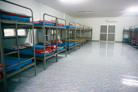 bedroom without people inside a hostel for backpackers