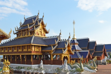 thai Buddhist temple with blue sky Stock Photo