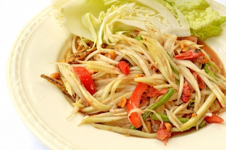 spicy papaya salad or somtam Stock Photo