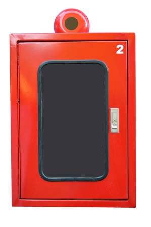 isolated red fire hose cabinet