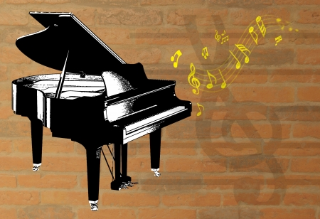forte: graphic piano and music notes