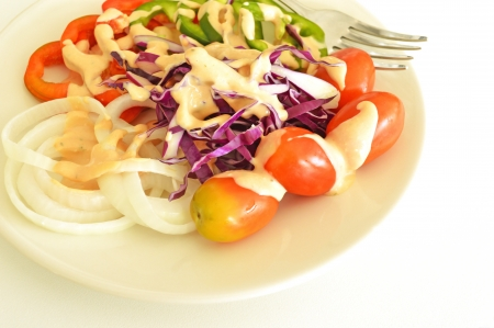 vegetable salad in white plate topped with thousand island dressing photo