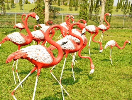 molded: a molded figure red and white flamingo Stock Photo