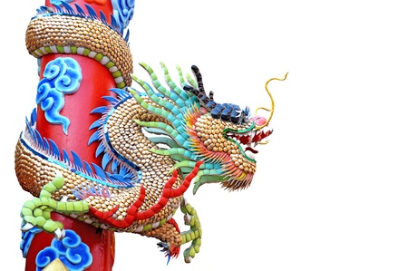 dragon statue of joss house on white background Stock Photo - 17951826