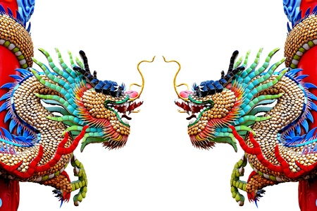 Chinese style dragon statue on white Stock Photo - 17951861