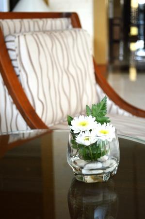 White chrysanthemum flower in glass Stock Photo